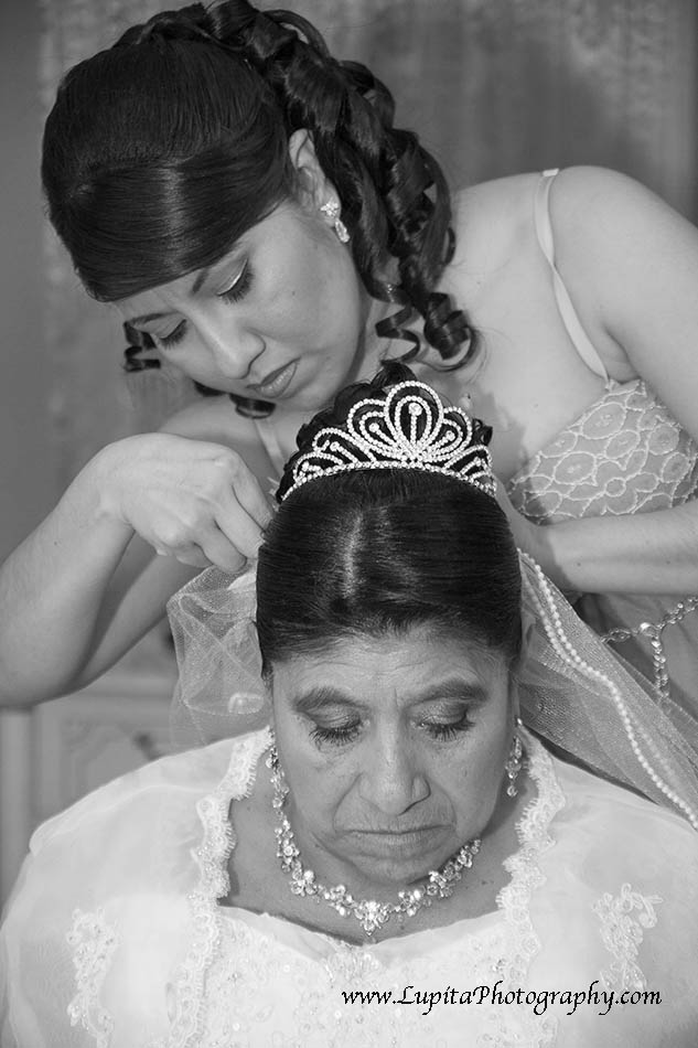 Bride getting ready to celebrate her 50 year anniversary -