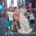 Quinceañera celebrating her birthday. Times Square. New York City.