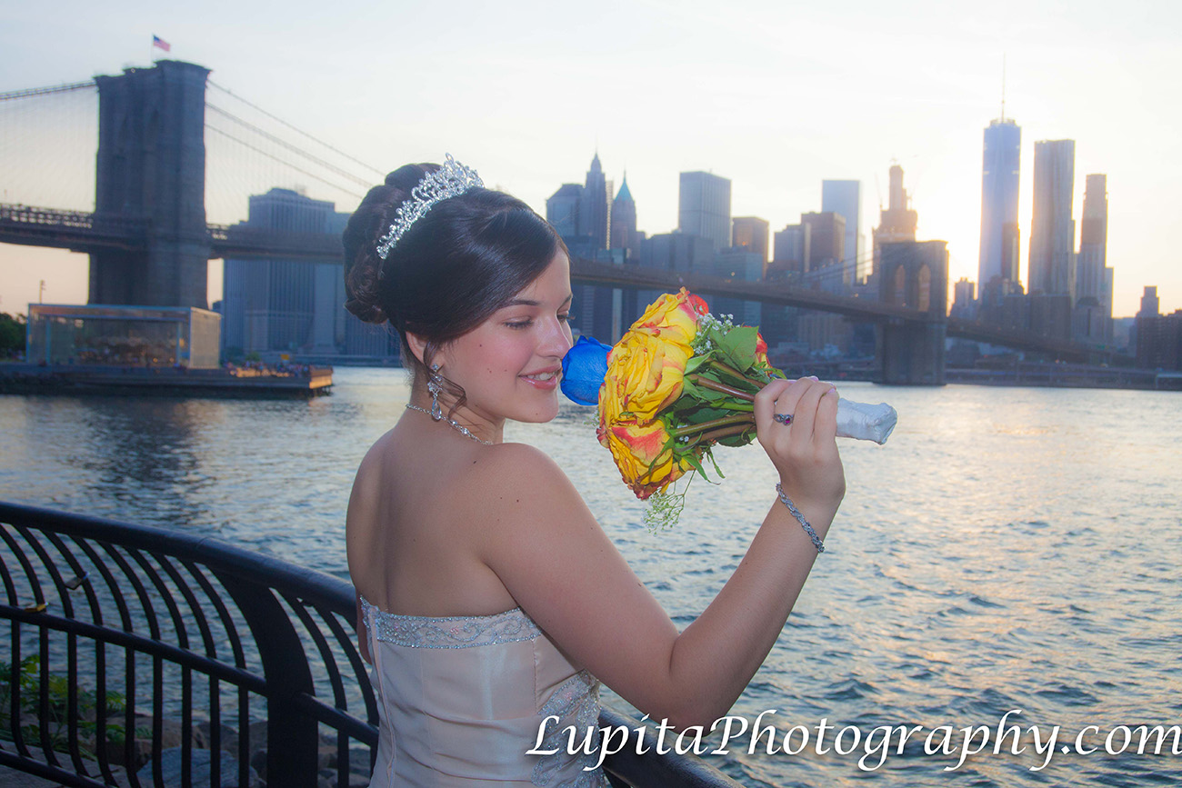 Quinceañera Latina celebrating her birhtday. NYC.