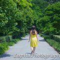 Latina girl celebrating her Sweet 15 in the Brooklyn Botanic Garden (BBG). New York City.