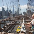 Quinceañera celebrating her birthday. Brooklyn Bridge. New York City.